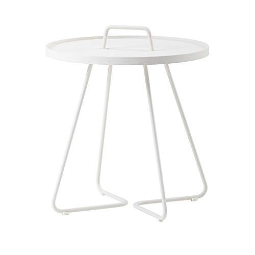 LICHUAN Mesa de café de moda Mesas de café de hierro nórdico Mesa de té de metal redonda moderna y simple mesa auxiliar pequeño apartamento sala de estar mesa auxiliar (color: blanco)