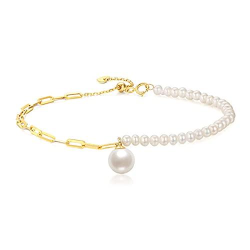 Pulsera De Perlas Mujer De Perla Asimetría Cultivada De Agua Dulce Blancas Barrocas Oro 18k