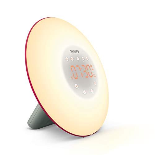 Philips HF3506/30 Wake-up Light LED, Aufwachen mit Licht, 2 natürlichen Wecktöne, rot