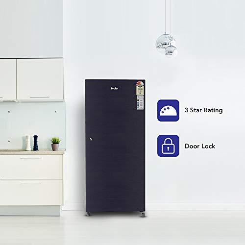 Haier 195 L 3 Star Direct-Cool Single Door Refrigerator (HRD-1953CKS-E, Black Brushline)