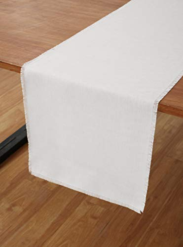 Solino Home 100% Pure Linen Fringe Table Runner – 14 x 72 Inch, Natural Fabric, Handcrafted - White