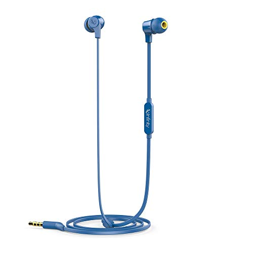 Infinity Zip 100 in-Ear Immersive Bass Tangle Free Flat Cable Headphones with Mic (Mystic Blue)