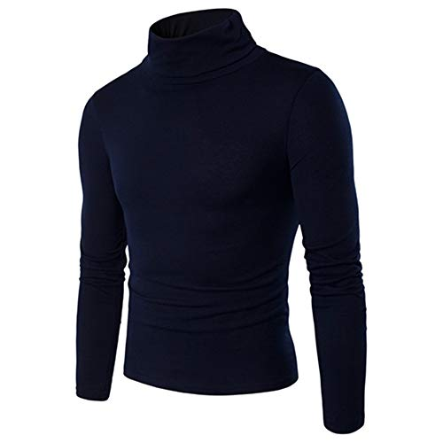 ZZOU Men's Long Sleeves Cotton T-Shirt Jumper Tops Plain Pullover Knitted Sweater Stretch Tunic Knitting Shirt Casual Slim Fit Turtleneck Thermal Knit Classic Comfort Soft Regular Fit tee