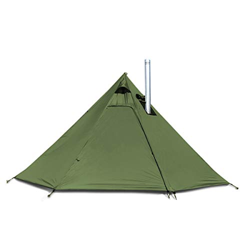 4 Persons 5lb Lightweight Tipi Hot Tents with Stove Jack, 7'3' Standing Room, Teepee Tent for Hunting Family Team Backpacking Camping Hiking (Olive)