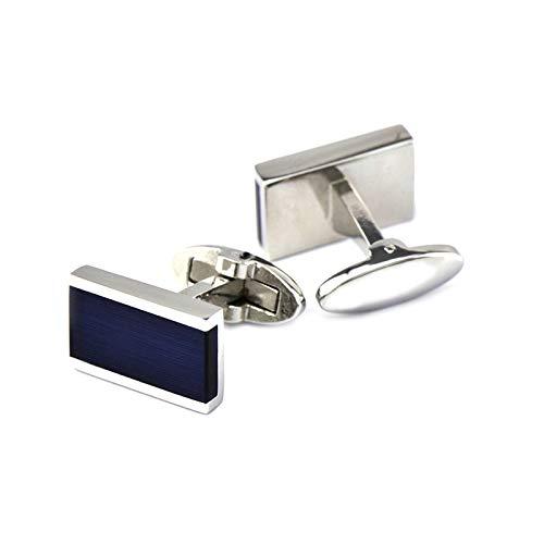 ANAZOZ Herren Manschettenknöpfe Kupfer Manschettenknopf Hochwertig Rechteckiger Opal Elegante Cufflinks Hemdanzug Blau mit Kostenlose Gravur