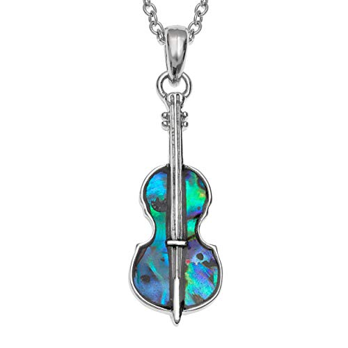 Seashore Jewellery Womens Violin Necklace inlaid with Sustainably Sourced Abalone Shell on 18 inch Rhodium Plated Chain with Gift Box
