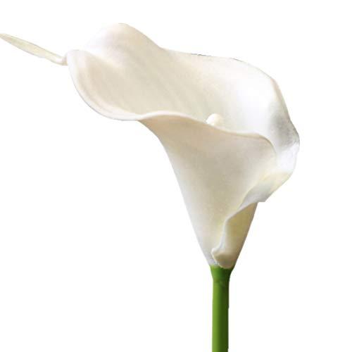 20 PCS Calla Artificial Lily Flowers Fake Flowers, Ramo De Novia De Novia, Centros De Mesa Arreglos Party Garden Inicio Decoración Al Aire Libre (Color : Blanco)