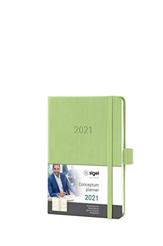 Sigel C2169 Terminplaner Wochenkalender 2021, ca. A6, Hardcover, hellgrün, mit vielen Extras, Conceptum - weitere Modelle