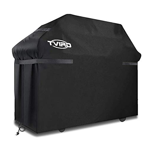 Tvird BBQ Cover, Barbecue Cover Waterproof Heavy Duty BBQ Grill Cover -Oxford Fabric Waterproof, Windproof, Rip-Proof& UV Resistant with Storage Bag for Weber, Brinkmann, Char Broil etc(145x61x117cm)