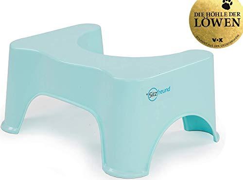 SITZFREUND der medizinische Toilettenhocker - für eine gesunde Haltung auf der Toilette - gegen Hämorrhoiden und Verstopfung - große Variante - Blau