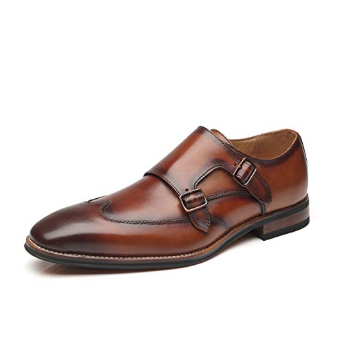 La Milano Men's Double Monk Strap Slip on Loafer Leather Oxford Wingtip Formal Business Casual Comfortable Dress Shoes, Wing-1-cognac, 10.5