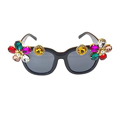 N\\A Gafas De Sol de Perlas Con Montura Grande, Gafas de Sol Huecas De Metal de Color de Moda Para Mujer, Gafas de Vidrio Con Incrustaciones