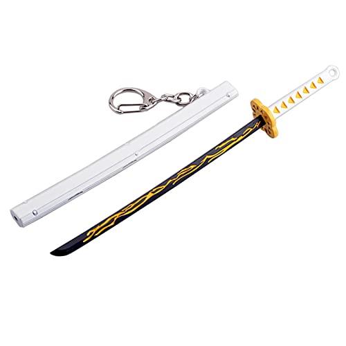 GHMPNLG Modelo de Espada del Sol Modelo Metal Llavero Japonés Katana WithScabbard Accesorio Demonio Slayer Mini Juguete Katana Llavero Anime Negro Samurai Ninja Espada (Color : Yellow)