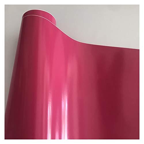 Carbon Folie 10/20/30/40/50 * 152cm Schwarz Glanzvinylfilm Glanz Glänzend Auto-Verpackungs-Folien-Aufkleber mit Luft-Blase Kostenloses Motorrad Car Wrapping Folie Auto (Color Name : Rose Red)