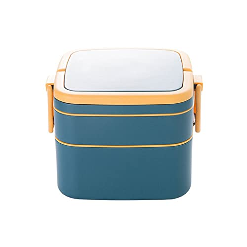 MSLD 1000ml Portable 2 Layer Healthy Lunch Box Food Container Microwave Oven Lunch Bento Boxes with Cutlery Lunchbox (Color : A)