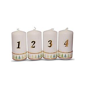 Weihnachtskerze Adventskerze Stumpen Kerze 1-4,mit Tannenbaum in Grün, Größe 15×6 cm Kerzen für Adventskranz Tischkerzen…