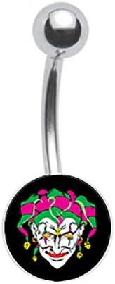 Scarry Joker Jester Clown Logo Belly Button Navel Ring Piercing bar Body Jewelry 14g