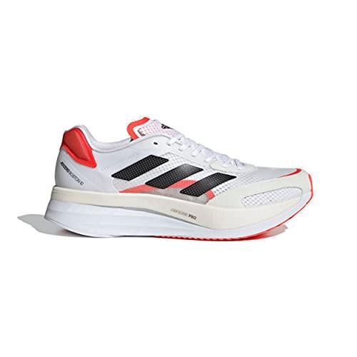 adidas Men's Adizero Boston 10, Cloud White/Core Black/Solar Red, 10