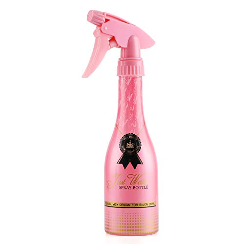 Adjustable Spray Bottle, Segbeauty 9.8oz Champagne Design Plastic Plant Mister with Fine Mist to Stream Settings, 280ml Empty Refillable Handle Rose Pink Sprayer for Home Cleaning Solution Hair Salon