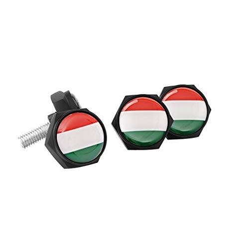 License Plate Frame Screw Bolts Car Styling Exterior Accessories For Ford BMW Volkswagen Mercedes Audi License Bolts Nut Germany Flag Metal License Plate Screw For cars ( Color Name : Italian flag )