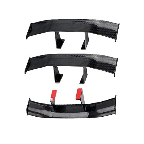 Delicacy Universal Car Mini Spoiler Wing, Auto Car Tail Wing Mini Auto Decoración de textura de fibra de carbono sin perforación (6.7 pulgadas 3pcs Negro)