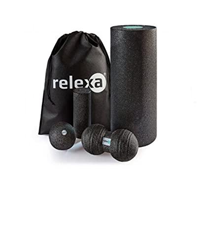 relexa Faszien Starter Set 5-teilig, Faszienrollen / Faszienbälle für Verspannungen & Verklebungen, zur Selbstmassage aller Muskeln, vielseitige Anwendung, inkl. eBook, in Schwarz