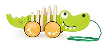 Hape Walk-A-Long Croc Toddler Wooden Pull Along Toy L  11.6 W  4.3 H  4.3 inch