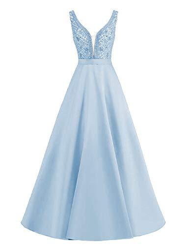 Lang Abendkleider A-Linie Ärmellos Ballkleider Vintage Cocktailkleid Brautkleider Hochzeitskleid Satin Rückkenfrei Hellblau 34