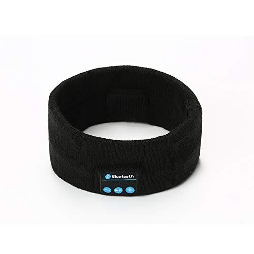 Fabrikanten specifiek voor grensoverschrijdende V5.0 draadloze Bluetooth muziek hoofdtelefoon sjaal outdoor fitness sport talk gebreide hoofdband (Kleur : Zwart)