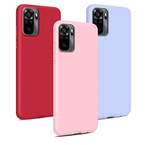 3X Cover per Xiaomi Redmi Note 10 4G/Note 10S, Custodie Morbido Silicone Case Tinta Unita Ultra Sottile TPU Flessibile Gomma Protezione Posteriore Antiscivolo Protettiva Skin Caso - 3 Colori
