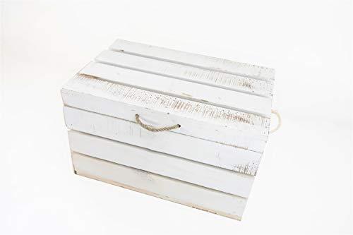 Baúl de Madera Blanco Vintage Sam, Blanco Vintage, Asas Cuerda, Baúl Almacenamiento, 49x32x30cm. Incluye Imán Personalizable de Regalo.