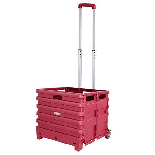 Roter quadratischer faltender Einkaufswagen mit 2 Radlagern, leichtes 66-kg-Fassungsvermögen-Faltbarer Handkoffer-Koffer, Faltbarer Mehrzweck-Gebrauchswagen-Teleskopgriff