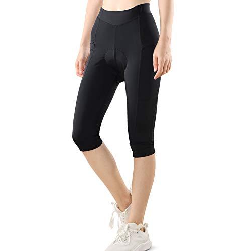 PELLOR Pantaloni lunghi da ciclismo da donna a 3/4, imbottiti, corti e traspiranti, con imbottitura 4D e tasche Nero M