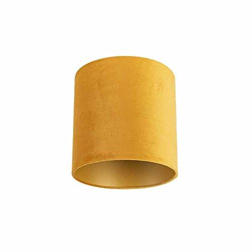 QAZQA Karton Velours Lampenschirm gelb 25/25/25 mit Gold/Messingener Innenseite, Rund gerade Schirm Pendelleuchte,Schirm Stehleuchte
