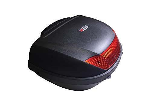 B.W. Vertrieb Top Case für Motorroller, Roller, Motorrad und Quad 52 Liter Koffer Gepäckfach schwarz inkl. Montageplatte