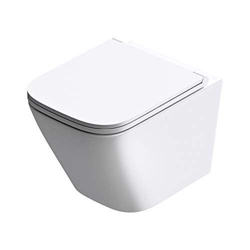 doporro Hänge-WC Spülrandlos 49x34x35cm Wand-WC Aachen112 inkl. Softclose Keramik Tiefspül-Toilette Weiß