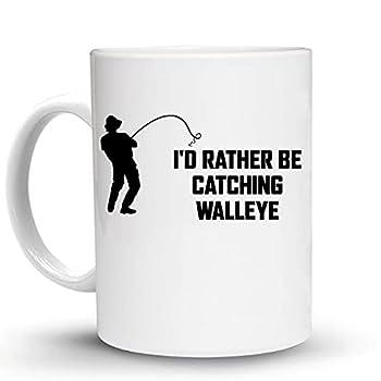 Press Fans - I D RATHER BE CATCHING WALLEYE Fish Fishing 15 Oz Large Ceramic Coffee Mug h49