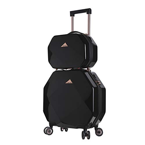 kensie 3D Gemstone TSA Lock Spinner Hardside Luggage and Tote, Black Option