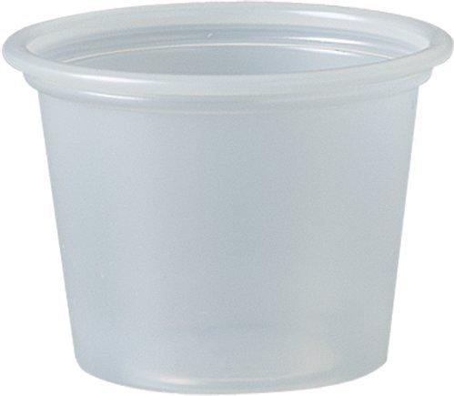 Solo Kunststoffbehälter für Lebensmittel/Getränke/Bastelarbeiten, transparent und Schwarz, 250 Stück, farblos, 1.0 oz Cup