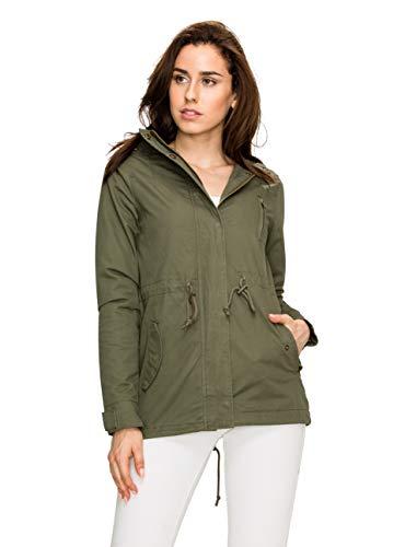 Lock and Love LL Women Military Anorak Safari Hoodie Jacket S Olive