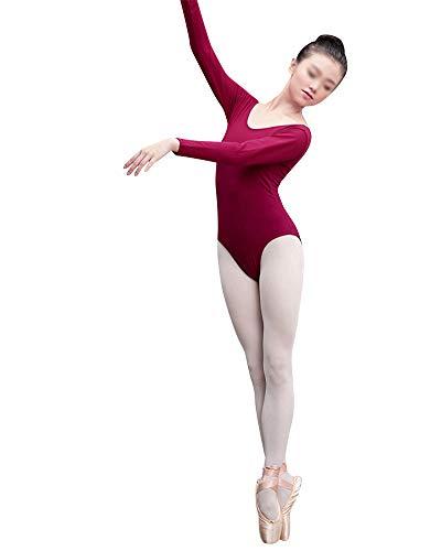 DianshaoA Damen Aerial Yoga Slim Fit Körperanzug Ballett Trikot Kleidung Üben 3/4 Arm Gymnastik Tanz-Body Weinrot Cx M