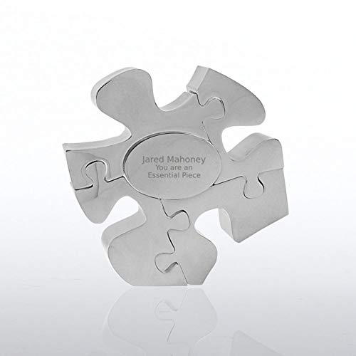 Engraved Decorative Desktop Paperweight - Nickle-Plated Metal - Puzzle Piece Shaped - Award for Employees - Personalized Engraving Up To Three Lines and Pre-Written Verse Selection - Comes In Gift Box