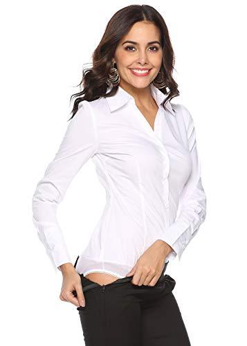 Soojun Women's Long Sleeve Collared Button Up Bodysuit Shirt Type 4 White US 10
