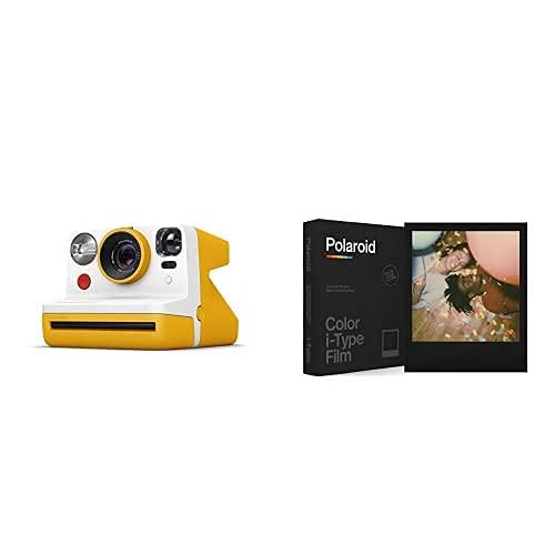 Polaroid - 9031 - Polaroid Now Fotocamera Istantanea i-Type, Giallo + 6019 - Pellicola Istantanea Colore per i-Type – Black Frame Edition