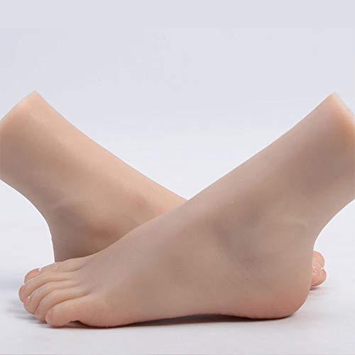 YZZ Modèle Pied, Ongles Femme réaliste Pieds Art Pratique Mannequin Modèle Pied Chaussures Chaussettes Affichage Bijoux, 1 Paire,Bone