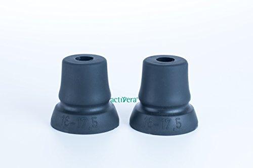 activera® - Juego de 2 cápsulas para muletas con gran superficie de apoyo para antebrazos, bastones, andadores, para tubos con diámetro de 16-17,5 mm
