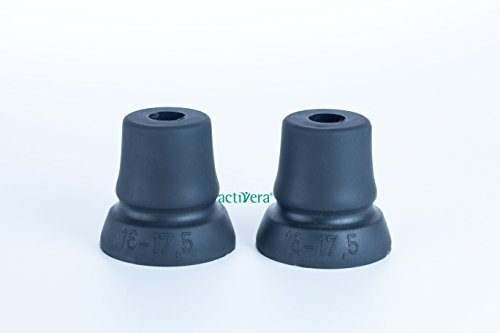 2er Set activera® Krückenkapsel Gehhilfenfuß mit großer Auflagefläche für Unterarmgehstützen Gehstöcke Gehhilfen passend für Rohre mit D=16-17,5mm