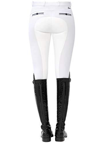 SPOOKS Reithose für Damen Mädchen Kinder, Voll-Besatz Reithosen Leggings Turnierreithose - bequem & stylisch Ricarda Full - Weiß L