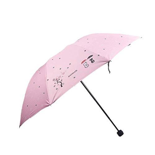 YNHNI Paraguas plegable a la moda, diseño de dibujos animados con triple pliegue de protección solar para la lluvia y el sol, portátil (color: rosa)