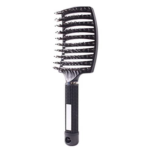 Boar Bristle Hair Brush Professional Vented Styling Barber Hairdressing Styling Tools Detangling Massage Brushes For Women Long, Thick, Curly and Tangled Hair Blow Fast Drying Hair Combs (black)